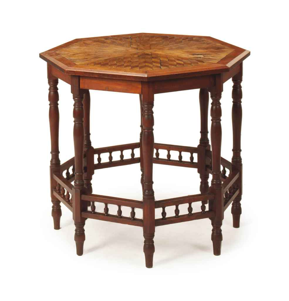An english mahogany and oak parquetry octagonal center for Table th center