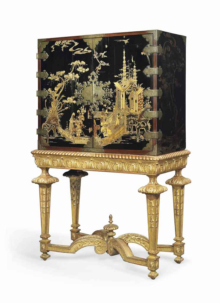 A Chinoiserie Decorated Cabinet On Giltwood Stand Late 17th Century The Stand Late 19th