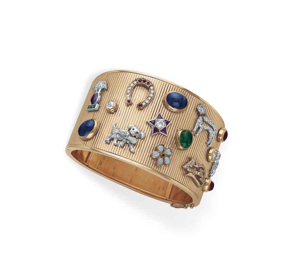 A RETRO DIAMOND, MULTI-GEM AND GOLD BANGLE BRACELET
