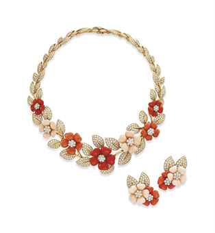 ~A SET OF CORAL AND DIAMOND ROSE DE NOEL JEWELRY, BY VAN CLEEF & ARPELS