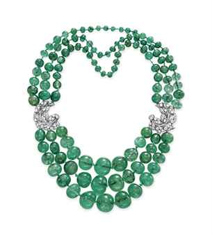A THREE-STRAND EMERALD BEAD AND DIAMOND NECKLACE