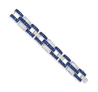 AN ART DECO SAPPHIRE AND DIAMOND BRACELET, BY PAUL FLATO