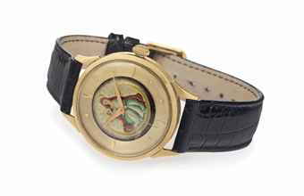 Eska. A Rare 18k Gold Automatic Wristwatch with Cloisonné Enamel Dial and Center Seconds