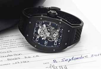 Richard Mille. A Fine and Rare Limited Edition Titanium Skeletonized Wristwatch with Tourbillon