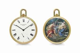 Patek Philippe. A Fine and Unique 18k Gold Openface Keyless Lever Watch with Enamel Miniature by Mrs. Mercier