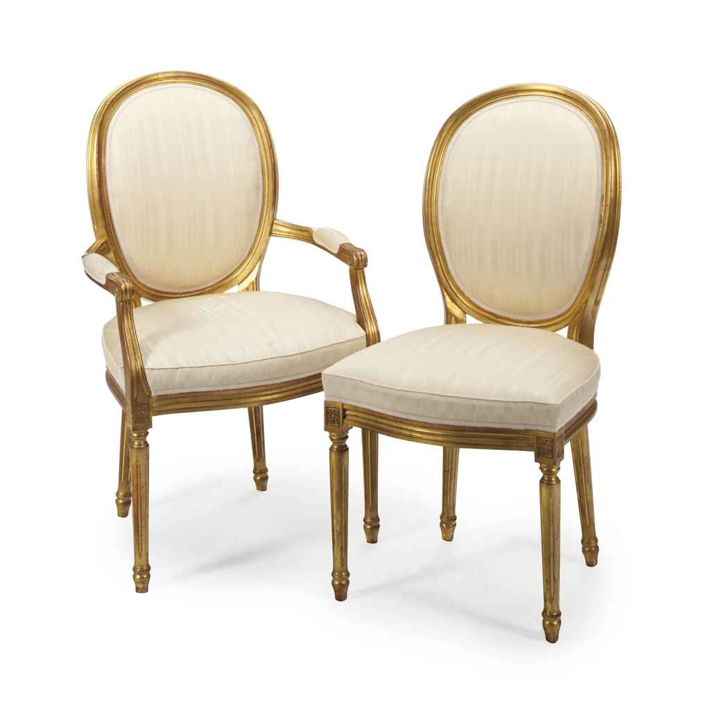 a set of four louis xvi style giltwood fauteuils modern christie s