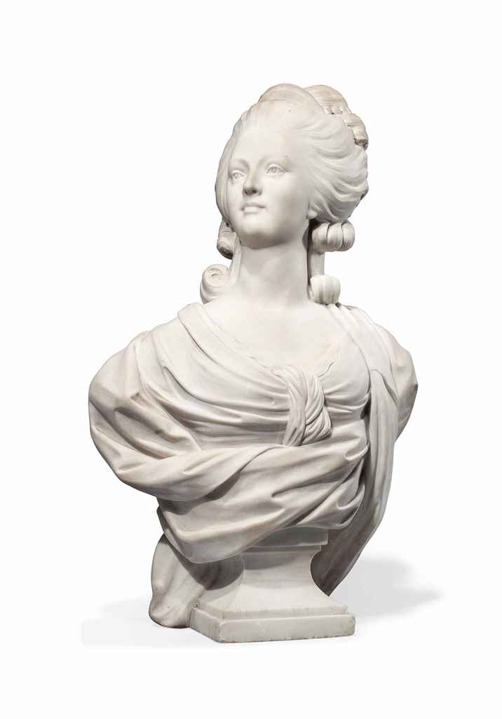 A FRENCH WHITE MARBLE BUST OF MARIE ANTOINETTE