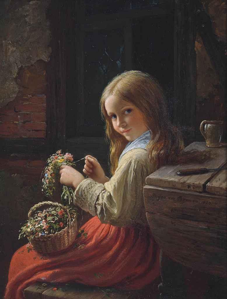 johann georg meyer von bremen german 1813 1886 the little flower girl christie 39 s. Black Bedroom Furniture Sets. Home Design Ideas