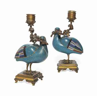 A PAIR OF CHINESE CLOISONNÉ ENAMEL STANDING QUAILS, MOUNTED AS CANDELABRA