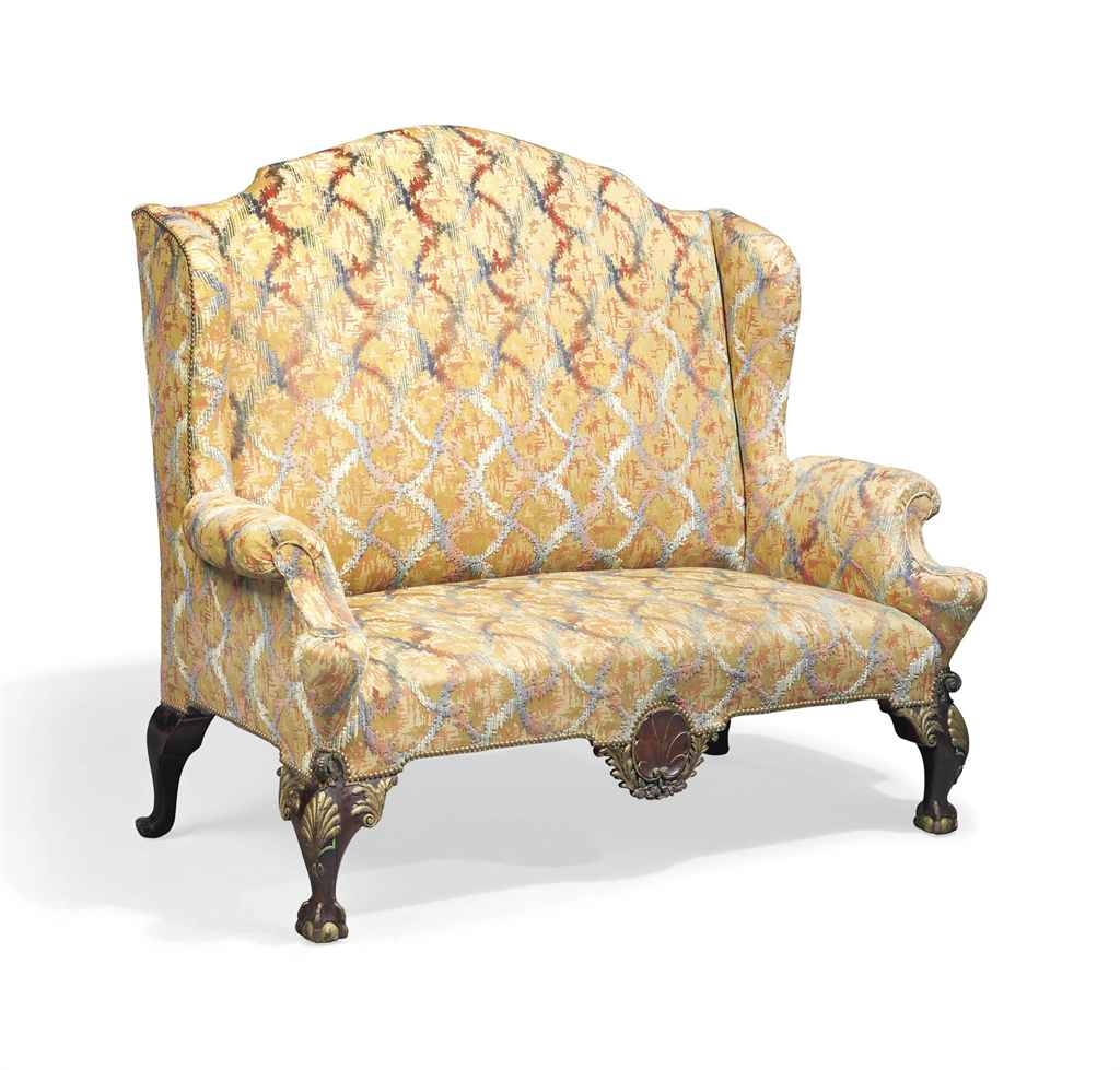 A Mahogany And Parcel Gilt High Back Wing Sofa Of Queen Anne Style Early 20th Century