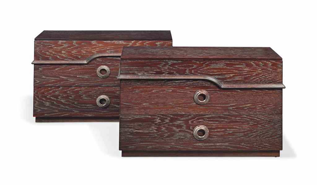 A PAIR OF JAMES MONT (1904-1978) CERUSE OAK CHEST OF DRAWERS...