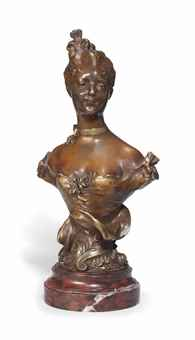 AN ART NOUVEAU BRONZE BUST OF A YOUNG GIRL