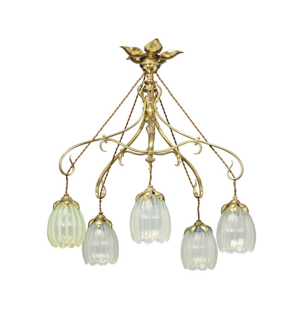 AN ARTS & CRAFTS BRASS AND GLASS FIVE-LIGHT CHANDELIER IN THE MANNER OF...