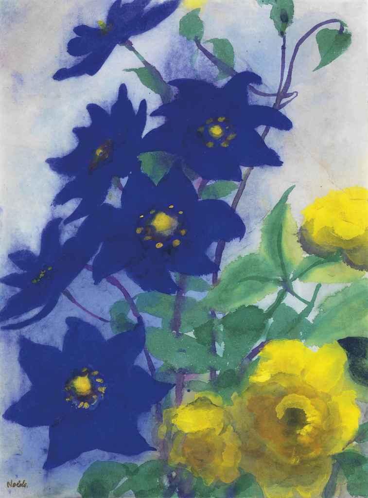 emil nolde 1867 1956 blaue und gelbe bl ten christie 39 s. Black Bedroom Furniture Sets. Home Design Ideas