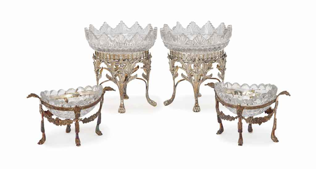 A PAIR OF GEORGE III-STYLE AND A PAIR OF GEORGE IV-STYLE SIL...