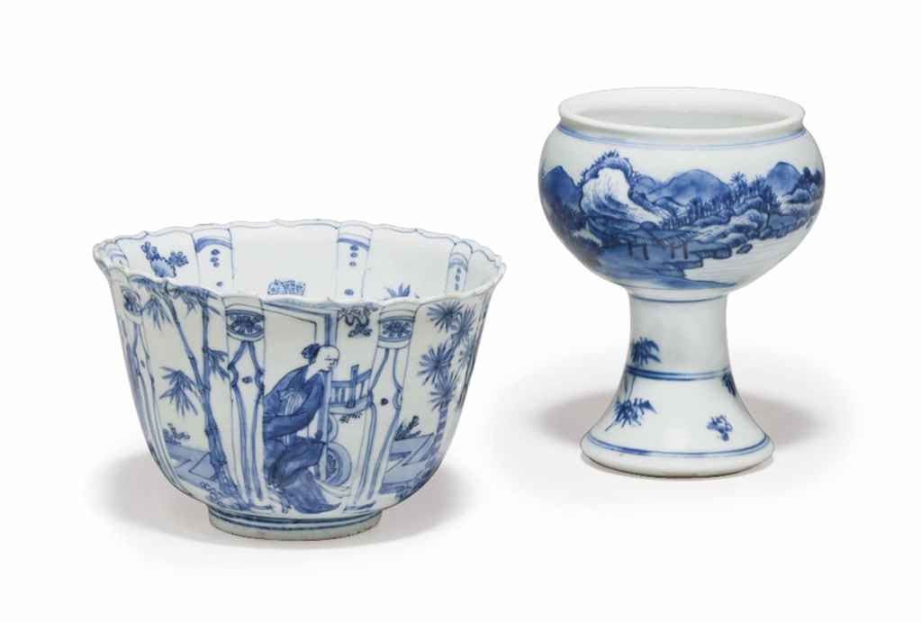 TWO CHINESE BLUE AND WHITE PORCELAIN WARES