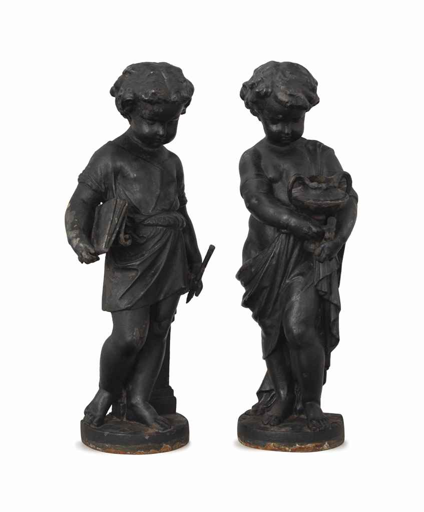 A pair of black painted cast iron garden sculptures of children late 19th early 20th century - Wrought iron garden sculptures ...