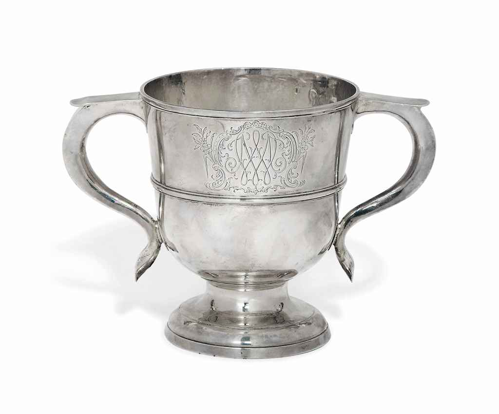 A GEORGE I SILVER TWIN-HANDLED CUP
