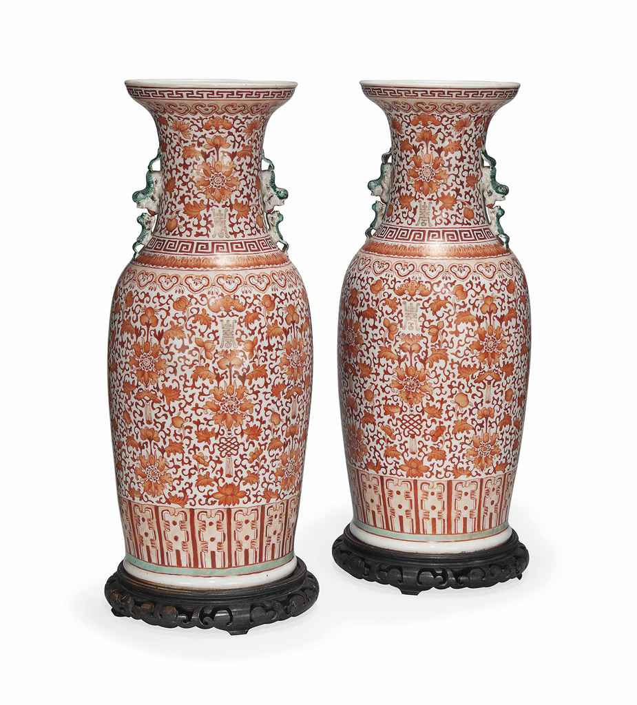 A PAIR OF CHINESE IRON-RED AND GILT BALUSTER VASES