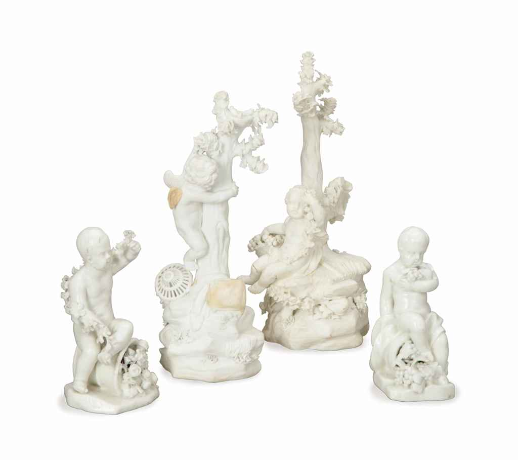A PAIR OF CONTINENTAL AND A PAIR OF ENGLISH PORCELAIN FIGURE...
