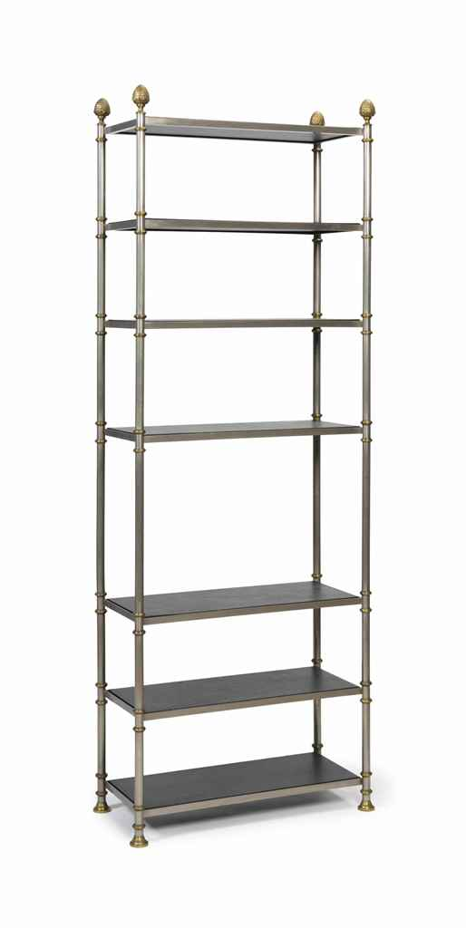 A silvered and brassed metal etagere possibly jansen third quarter 20th c - Etagere modulable metal ...