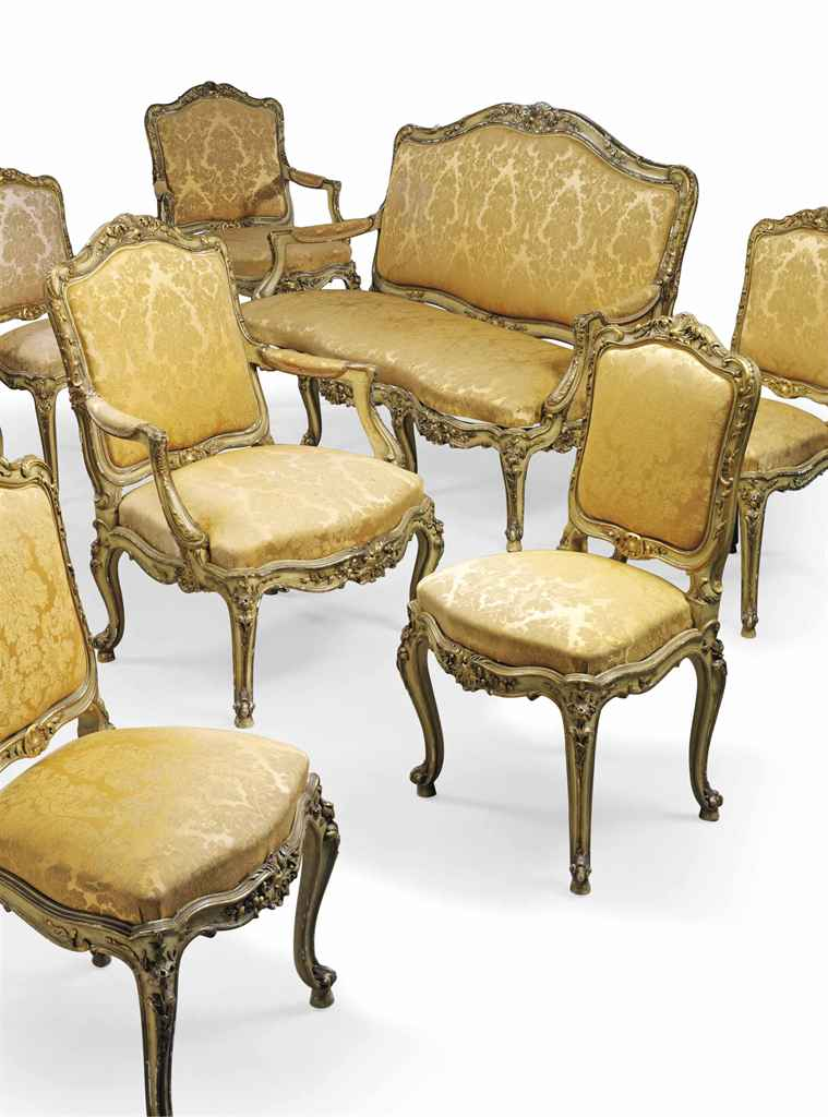 A french giltwood salon suite of louis xv style mid for Salon louis xv