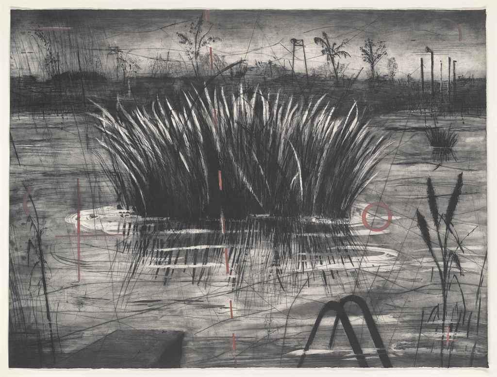"""WILLIAM KENTRIDGE Reeds 23.5/"""" x 33/"""" Poster Gray Brown"""