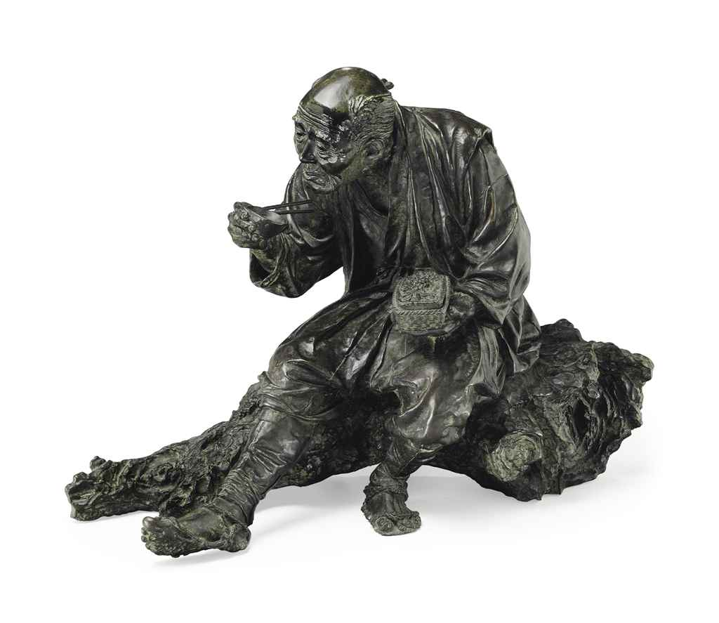 A bronze model of an old man