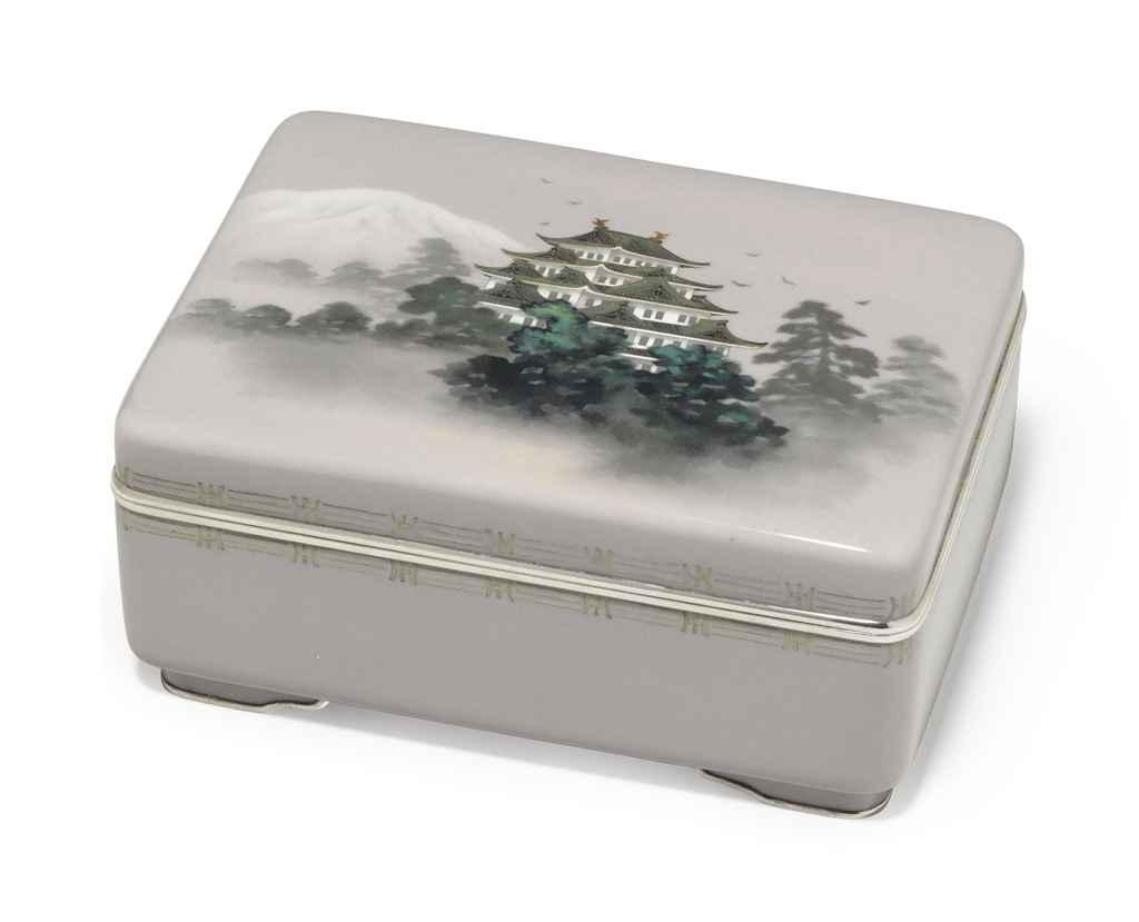 A cloisonné enamel box and cov