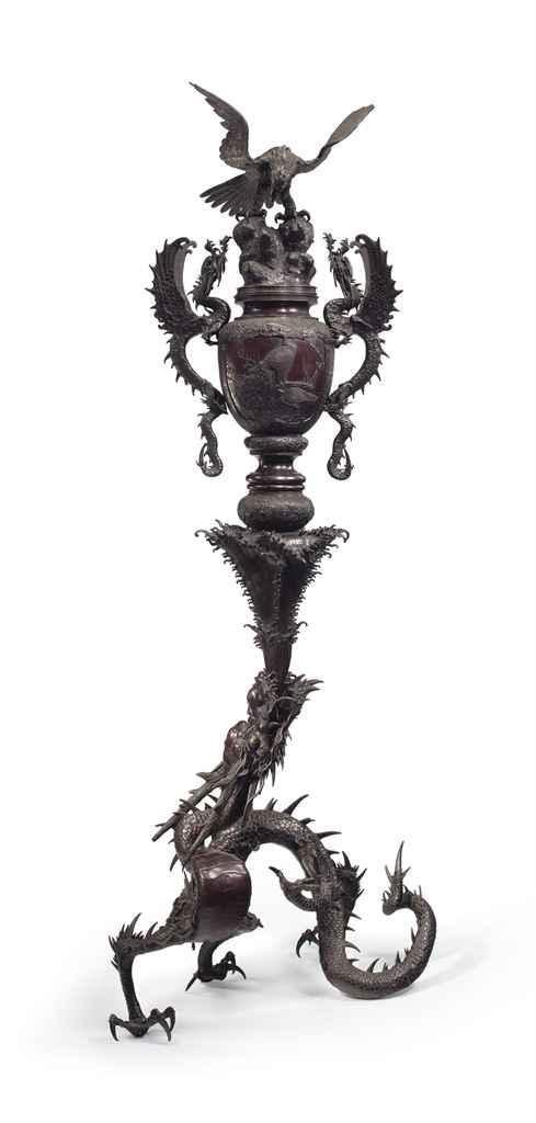 A massive bronze incense burne