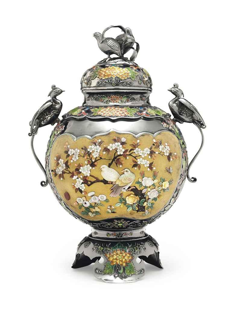 A Shibayama-style silver incen