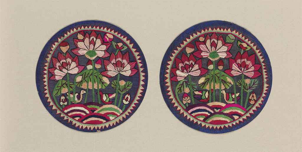 A Pair of Embroidered Pillow E