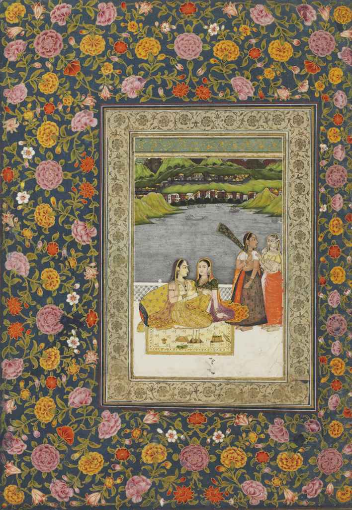 A folio from the Read Album: women on a terrace