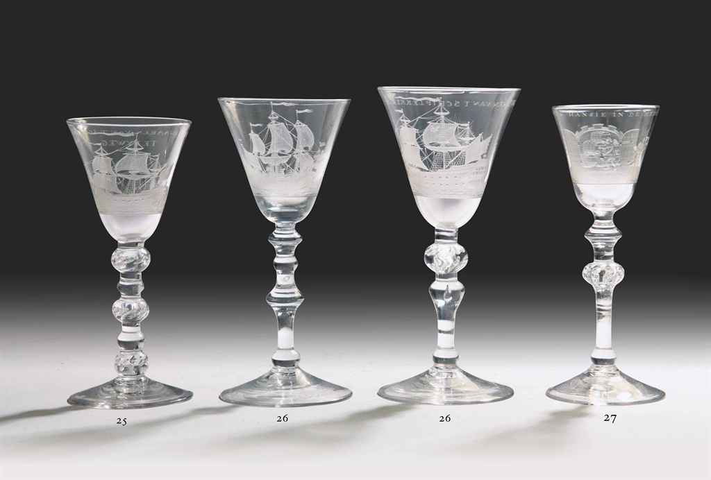Two Dutch-engraved maritime goblets