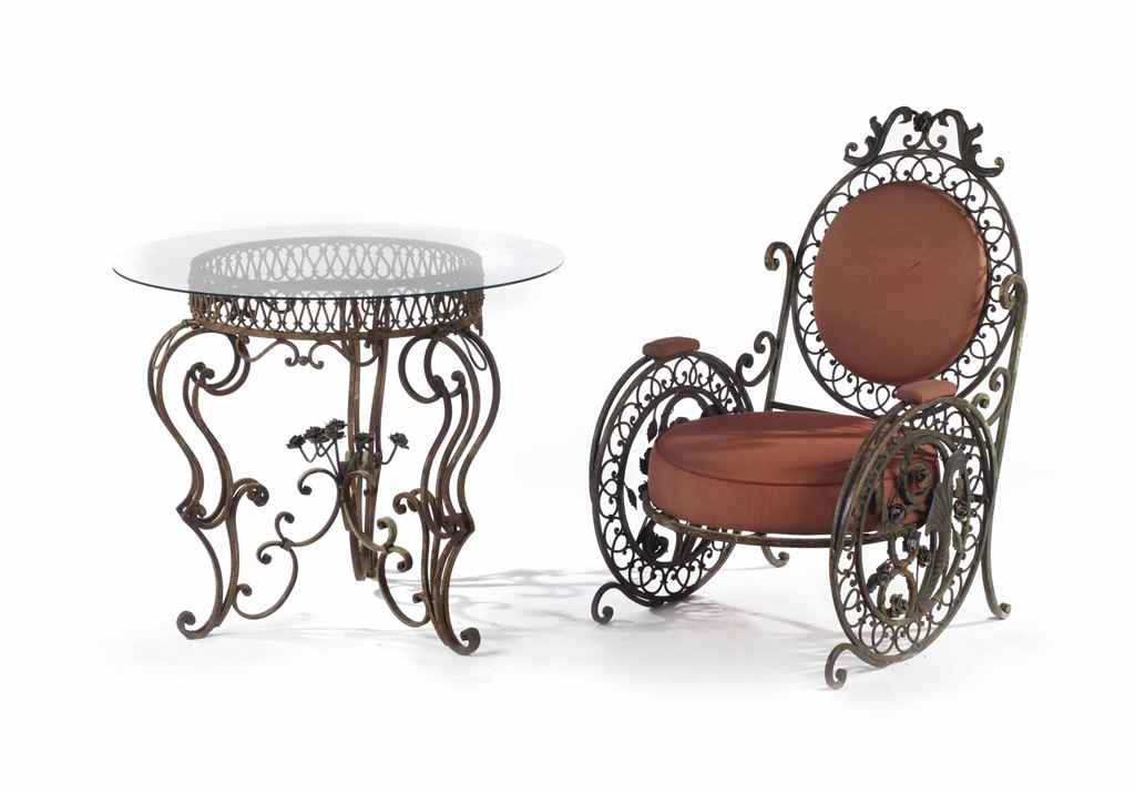 A Suite Of Polychrome Decorated White Painted Wrought Iron Garden Furniture French Mid 20th