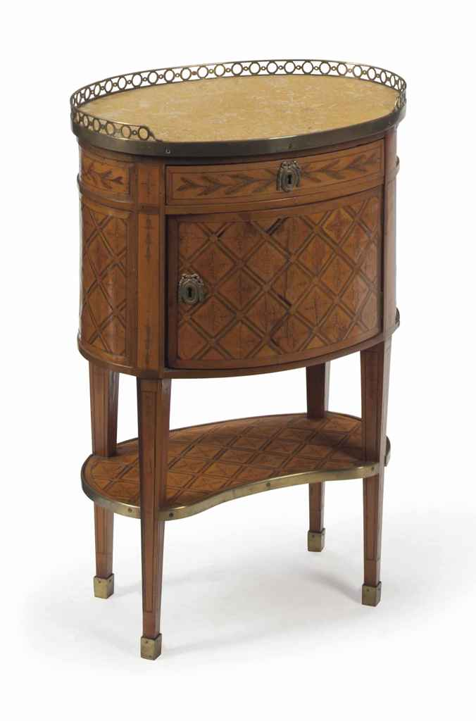 A LOUIS XVI BOIS CLAIR AND STAINED FRUITWOOD PARQUETRY AND MARBLETOP SIDE TA