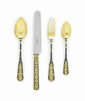 A SILVER-GILT AND EN PLEIN ENAMEL PART DESSERT FLATWARE SETTING