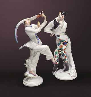 A MEISSEN PORCELAIN RUSSIAN BALLET FIGURE OF THE HARLEQUIN 'BAJAZZO' AND A OFFENBACH OPERA FIGURE OF 'MASKENTÄNZER'