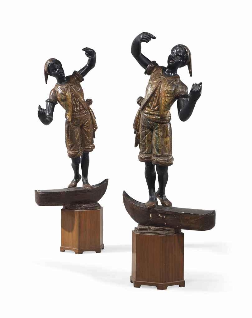 Paire de maures gondoliers en bois sculpte peint polychrome et pa - Rosace en bois sculpte ...