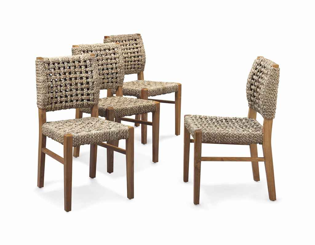 A Set Of Four Teak And Sisal Rope Dining Chairs By John Himmell Modern Christie 39 S