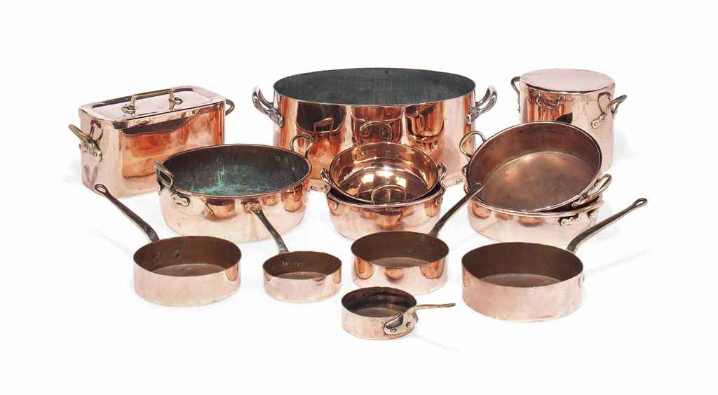 an assembled and edwardian copper batterie de cuisine late 19th early 20th century
