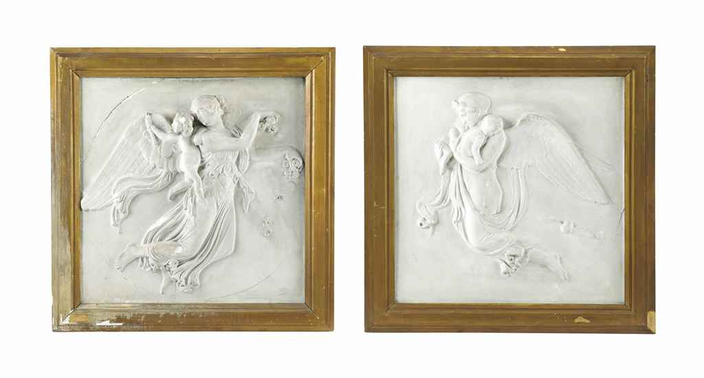 A PAIR OF PLASTER RELIEF PLAQUES DEPICTING ALLEGORIES OF NIG...