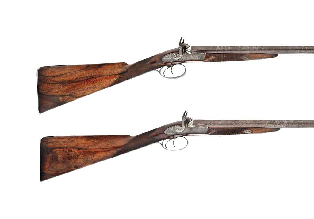 A PAIR OF 16-BORE DOUBLE-BARRELLED PERCUSSION SPORTING GUNS ...