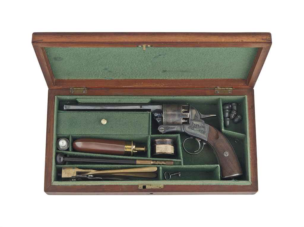 AN EXTREMELY FINE AND RARE CASED 54-BORE JAMES WEBLEY PATENT...