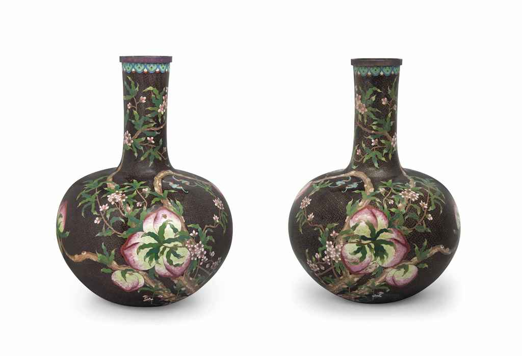 A VERY LARGE PAIR OF CHINESE CLOISONNÉ ENAMEL BOTTLE VASES ...