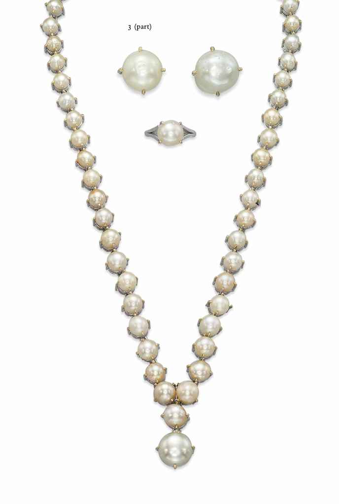 A GROUP OF NATURAL PEARL, CULTURED PEARL AND DIAMOND JEWELLE...