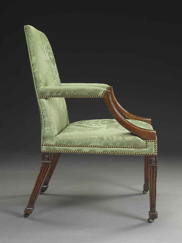 A Pair Of George Iii Mahogany Open Armchairs Attributed To William Linnell Circa 1760