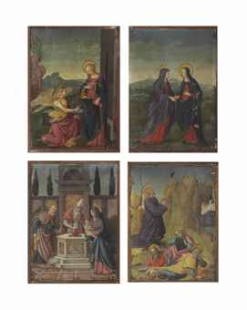 Four scenes from the New Testament: The Annunciation; The Visitation; The Circumcision; and The Agony in the Garden