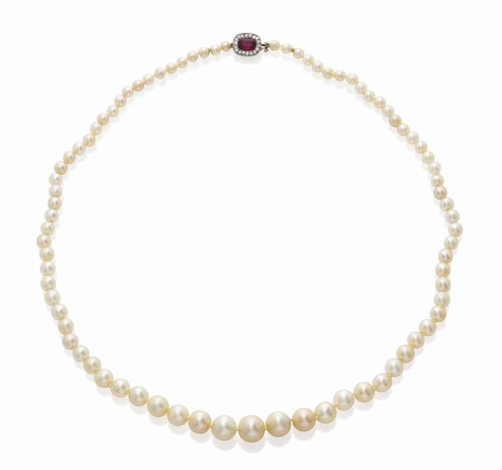 collier perles fines perle de culture rubis et diamants. Black Bedroom Furniture Sets. Home Design Ideas