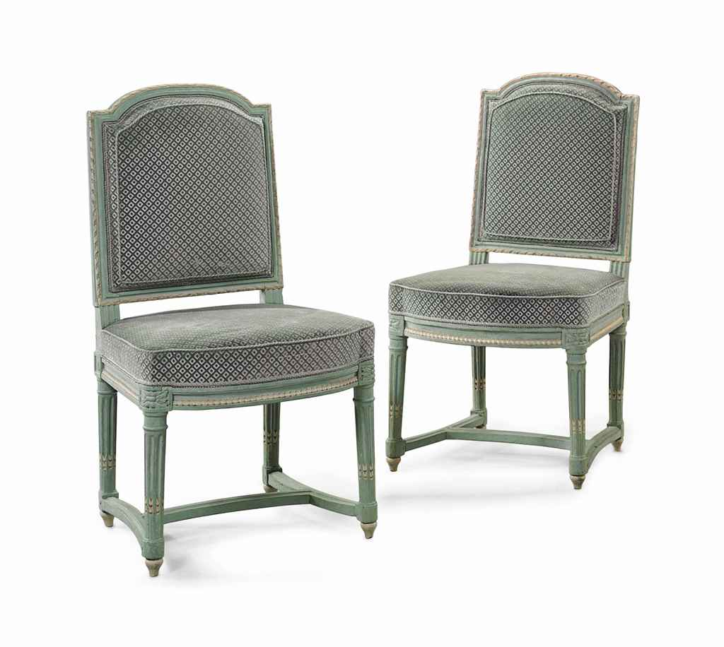 A pair of royal louis xvi green and white painted chaises - Chaises louis 16 ...